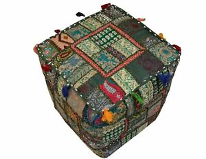 Indian Cotton Handmade Vintage Pouf Cover Patchwork Square Ottoman 18X18 Inches
