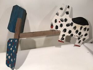 "R. A. Miller Painted Metal & Wood Whirligig c.1990 Folk Art Signed 32x21"""
