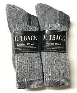 Premium 6 Pairs Gray 36% Merino Wool, 36%Acrylic, Thermal Crew Sock SZ 9-11.USA