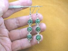 (ee405-16) 10 mm Green Jade Canada gemstone 3 bead + silver caps dangle earrings