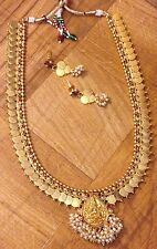 New Indian Ethnic Temple Jewelry Gold Plated Long Laxmi Pearl Coin Necklace Set