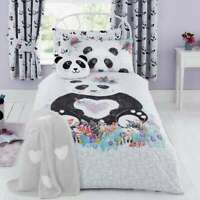Kids Boys Girls Single Double Panda reversible  Duvet Cover Pillowcase  Set