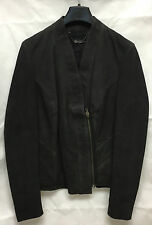 Muubaa Donna LIMITED EDITION in Pelle Nera Blazer Zip Giacca. RRP £ 299. UK 10.