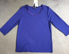 M&S PURPLE 3/4 SLEEVE T-SHIRT WITH BEADED SCOOPED NECKLINE -SIZE 12 BNWT