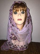 Lilac Long Scarf Hijab Wrap Sheer pretty and fashionable w/metallic thread