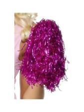 Pink Pom Poms Metallic Fancy Dress School Cheerleader Costume Accessory Prop New