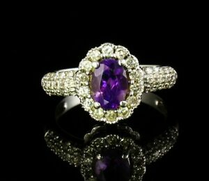 OVAL NATURAL 2.14ctw PURPLE AMETHYST & DIAMOND HALO SOLID 14K WHITE GOLD RING