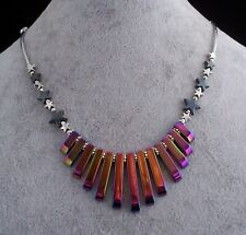 Rainbow Hematite Silver Plated & Black Hematite Star Bead Necklace.Handmade