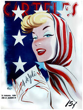 "18x24""Quality Decoration Poster.Room art.American fashion girl.July 4th.6732"