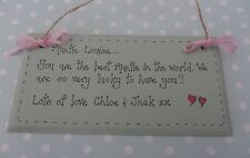 Personalised best auntie plaque sign handcrafted birthday christmas gift
