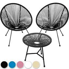 2 Fauteuils design acapulco chaises de salon de jardin rétro avec table