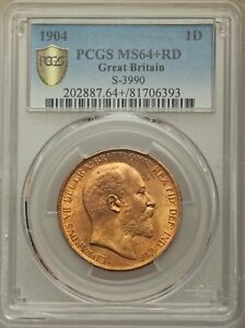 GREAT BRITAIN EDWARD VII  1904  PENNY, UNCIRCULATED, CERTIFIED PCGS MS64+RED
