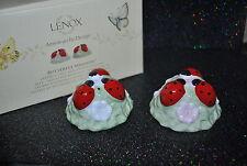 NEW LENOX Butterfly Meadow LADYBUG SALT & PEPPER SET Shakers BOX