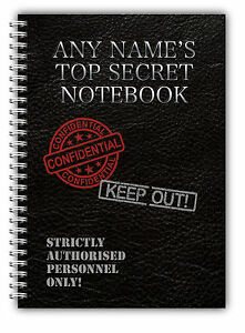 Personalised A5 Softbacked Notebook Notepad Top Secret Agent Theme wirebound