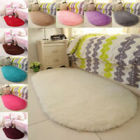 Solid Plush Oval Carpet Area Rugs Fluffy Floor Mats Bedroom Living Room Winter