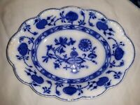 """Antique Flow Blue Onion Holland Johnson Brothers Oval Serving Bowl Dish 10"""""""