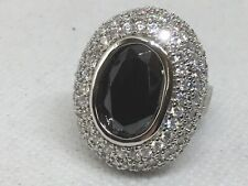 Sterling Silver Hematite Cz Pave Dome Cocktail Ring Sz 9