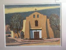 """Louie Ewing  """"Santa Fe Church""""  Serigraph  56/120"""