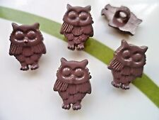 48pcs Novelty Theme Dress It Up Button Owl Craft Appliques Card-making Brown