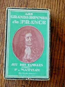 Ancien COFFRET JEU DES FAMILLES 48 CARTES LES GRANS HOMMES DE FRANCE  F. NATHAN