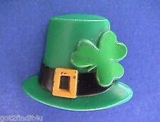 BUY1&GET1@50%~Hallmark PIN St Patrick ☘️ HAT SHAMROCK Vtg Irish Holiday Brooch A