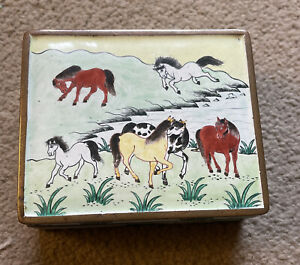 Vintage Chinese Enamelled/Cloisonné Box Decorated With Horses