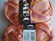 MeiMei Bamboo 100% bamboo yarn, yellow/pink/brown, lot of 2 (181 yds each)