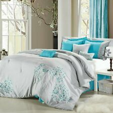 Pink floral Grey & Aqua Comforter Bed In A Bag Set 12 piece