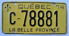 New listing 1974 Quebec Canada License Plate - Man Cave
