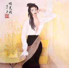 ORIENTAL ASIAN ART CHINESE FIGURE WATERCOLOR PAINTING-Sexy Beauty
