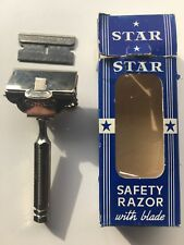 Vintage Original  Star Safety Razor W Box Comes With One Blade PAT. 1912 Chrome