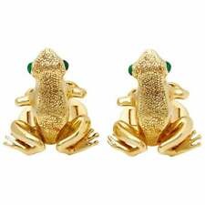 Solid 10k Yellow Gold Cabochon Shape Emerald Eyes Frog Men's Party Cufflinks Set