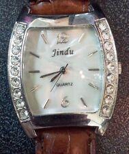 Very nice Jindu bling big crystal bezel faux alligator mother of pearl look