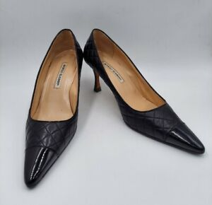 Vintage Manolo Blahnik Black Quilted Leather Pointed Toe Pumps Size 40.5