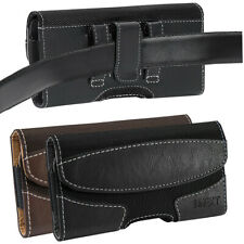 Horizontal Leather Cell Phone Pouch Case Cover Holder Carrying Belt Clip Holster