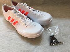 Adidas New Mens ADIZERO Long Jump Track & Field White Orange Shoes Size 12.5