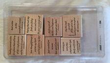 1999 Stampin' Up! Wood Mount Stamp Set - Versatile Verses 8 Stamps