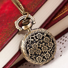 Hot Fashion Vintage Retro Bronze Quartz Pocket Watches Pendant Chain Necklace