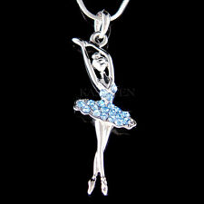 w Swarovski Crystal ~Baby Blue BALLERINA  Ballet Dancer Teacher Necklace Jewelry
