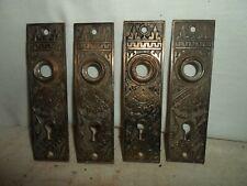 4 cast Eastlake Victorian brass plated highlight, metal door knob back plates #2