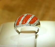 SOLID 14K WHITE GOLD GEOMETRIC CABOCHON CUT RED CORAL 0.13CTS DIAMOND RING 8 #2