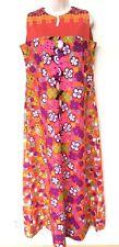 Vtg 60s Kilauea Hawaiian Long Shift Small Dress Hippie Mod Floral Sleeveless Vgc