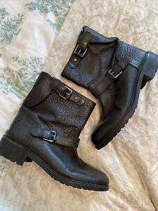 Massimo Dutti Black Short Biker Boots Size 39 UK 6 Rare