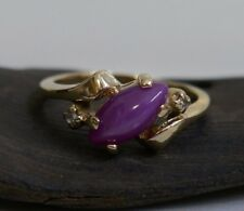 Vintage 10K Yellow Gold Pink Star Sapphire with accent Diamonds Ring Size 6