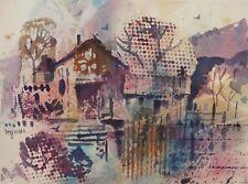 """JUNIOR'S FARM""  original watercolor by American artist Micheal Jones"