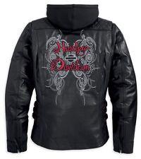 Harley Davidson Women's Solstice Black Leather Jacket Hoodie 3in1 97139-13VW M