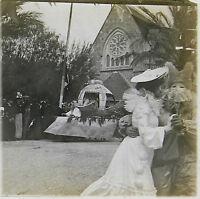Carnaval Hyères 1904 Côte d'Azur Stéréo 45x107mm 5 Plaques de verre positive