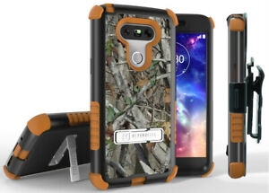 AUTUMN LEAF TREE RUGGED CAMO CASE + BELT CLIP HOLSTER + SCREEN SAVER FOR LG G5