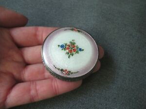 Antique cute painted flowers guilloche enamel silver plated small purse compact