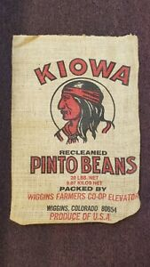 Vintage Kiowa Brand Pinto Beans Wiggins Colorado Burlap Sack - Excellent!